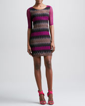 Missoni Crochet-Sleeve Dress, Pink/Black