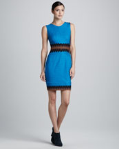 Missoni Mixed-Lace Scoop-Neck Sleeveless Sheath Dress, Turquoise