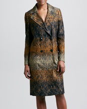 Missoni Double-Breasted Zigzag Coat, Black/Gold