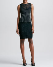 Missoni Metallic Paneled Sheath Dress, Black/Silver