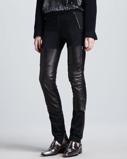 3.1 Phillip Lim Lambskin Leather Wader Pants, Charcoal/Black