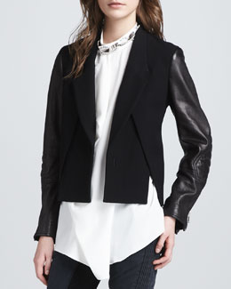 3.1 Phillip Lim Cross-Front Leather-Sleeve Jacket, Black