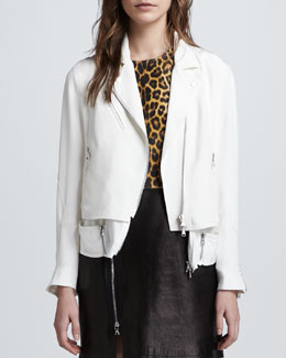 3.1 Phillip Lim Trompe l'Oeil Layered Silk Moto Jacket, White