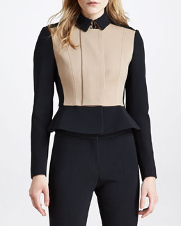 Burberry Prorsum Crepe Colorblock Peplum Jacket