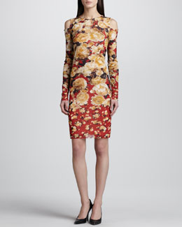 Jean Paul Gaultier Cold-Shoulder Floral-Print Dress, Red/Multicolor