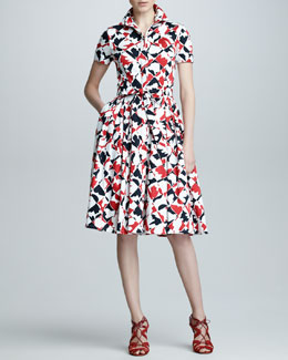 Carolina Herrera Diamond-Print Short-Sleeve Dress, Red/Black/White