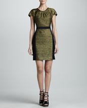 Jason Wu Metallic Melange Cap-Sleeve Dress, Gold/Black