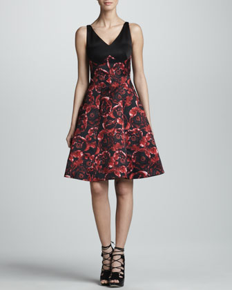 Combo Silk Satin Dress, Black/Ruby
