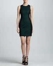 Jason Wu Eyelet Front Sheath Dress, Black/Emerald