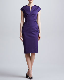 Lela Rose Slit-Front Seamed Dress, Amethyst