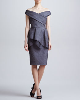 Lela Rose Off-the-Shoulder Flounce Dress, Charcoal