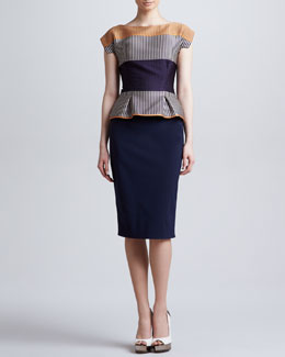 Lela Rose Cap-Sleeve Colorblock Peplum Dress