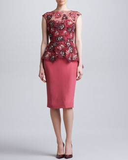Lela Rose Embroidered Peplum Dress