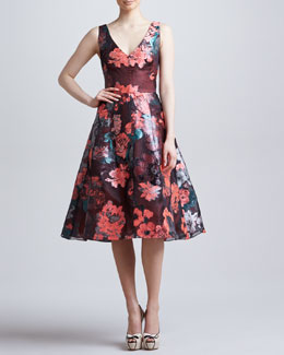 Lela Rose Sleeveless Dress with Full Skirt