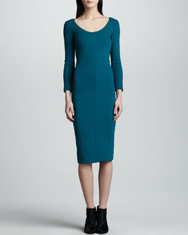 Narciso Rodriguez Pebble Crepe Jersey Dress, Peacock