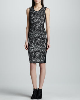 Narciso Rodriguez Sleeveless Jacquard Sheath Dress, Black/White