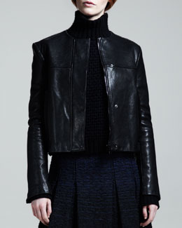 Proenza Schouler Collarless Leather Jacket
