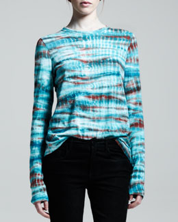 Proenza Schouler Long Sleeve Tie-Dye T-Shirt, Emerald/Rust