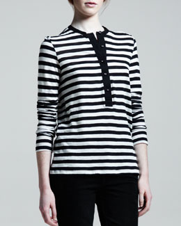 Proenza Schouler Long Sleeve Striped Henley