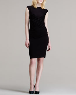T by Alexander Wang Twist-Front Pique Dress