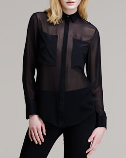 T by Alexander Wang Sheer Patch-Front Shirt