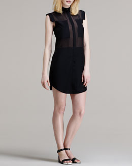 T by Alexander Wang Paneled Sheer Silk Shirtdress