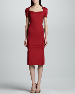 Zac Posen Short-Sleeve Twill Dress, Cherry