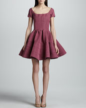 Zac Posen Short-Sleeve Fit-And Flare Dress, Orchid