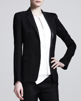 Reed Krakoff Leather-Collar Open Blazer