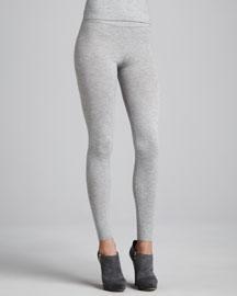 Stretch Cashmere Melange Leggings, Cement