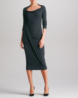 Donna Karan Long-Sleeve Asymmetric-Drape Dress, Asphalt