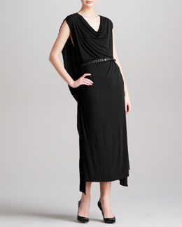 Donna Karan Belted Cowl Cape Dress, Black
