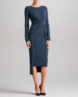 Donna Karan Knotted Drape Jersey Dress, Slate Blue