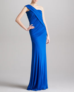 Donna Karan Draped Ruched One-Shoulder Gown, Electric Blue