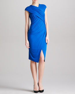 Donna Karan Ca-Sleeve Draped Jersey Envelope Dress, Blue