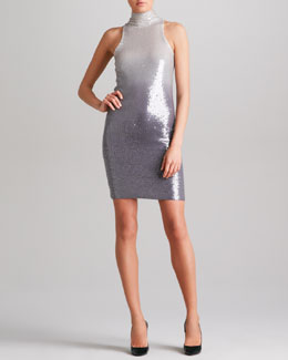 Donna Karan Ombre Sequined Cashmere Dress