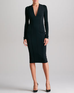 Donna Karan Seamed Plunging Jersey Dress, Black
