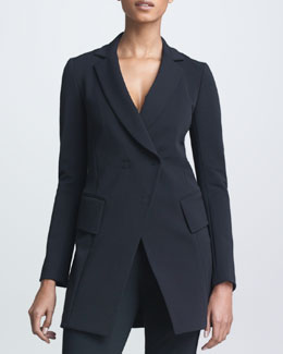 Donna Karan Long Fitted Double-Breasted Jacket, Black