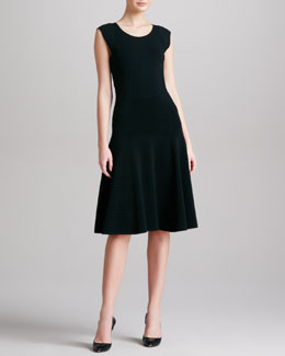 Donna Karan Dropped Waist Fit & Flare Dress, Black