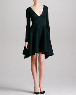 Donna Karan Seamed Plunging Long-Sleeve Dress, Black
