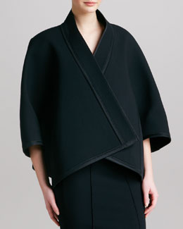 Donna Karan Three-Quarter-Sleeve Kimono Jacket, Black