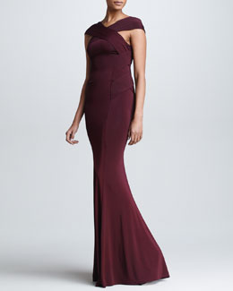 Donna Karan Cross-Neck Evening Gown, Claret