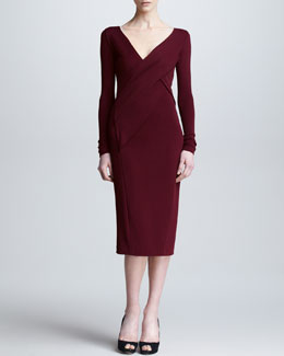 Donna Karan Long-Sleeve Draped V Neck Dress, Pomegranate