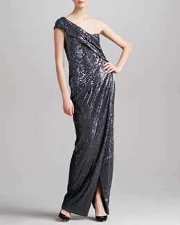 Donna Karan Sequined One-Shoulder Gown, Charcoal