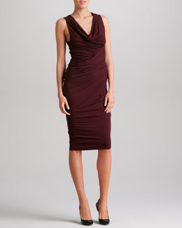 Donna Karan Sleeveless Draped Jersey Dress, Claret