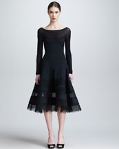 Donna Karan Lace & Jersey Long-Sleeve Dress, Black