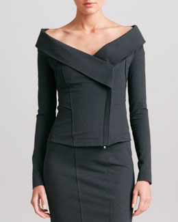 Donna Karan Off-the-Shoulder Jacket, Charcoal