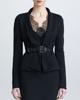 Donna Karan Draped Lapel Jacket, Black