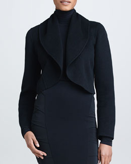 Donna Karan Shawl Collar Cashmere Cropped Jacket, Black