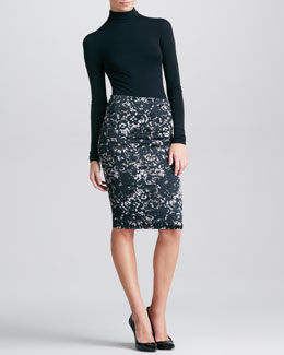 Donna Karan Lace-Print Tube Skirt, Black